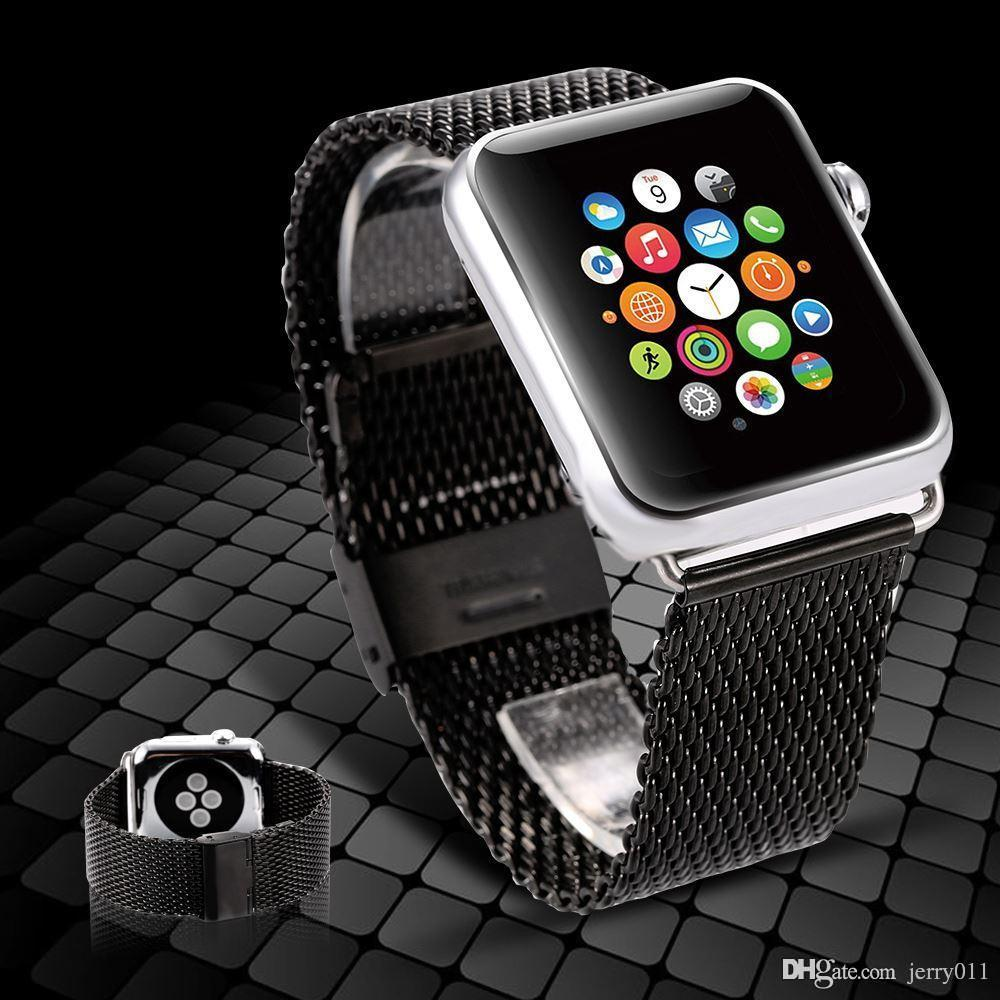 Black For Apple Watch Band 38 42mm Classic Buckle Smart Stainless Steel Wrist Strap Iphone Long Bands Cuff