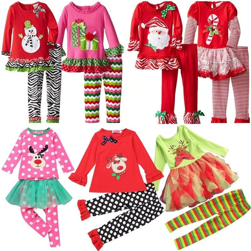 7f17b7f5ce2a Samgami Baby Childrens Girls Boutique Outfits Clothing Sets Christmas Santa  Long Sleeve Tops Ruffle Pants Suits Girls Christmas Dress Set Girls Pjs  Sale ...