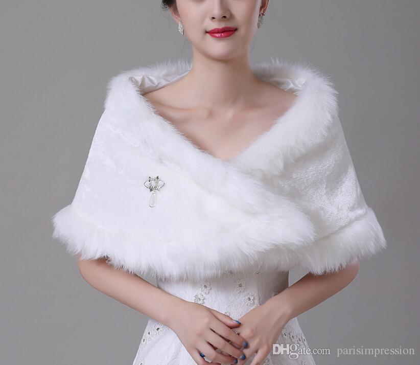 Red Winter Bridal Wraps warme weiche Kunstfell Shrug Schal weiße Braut Prom Party Braut Frauen Bolero mit Brosche