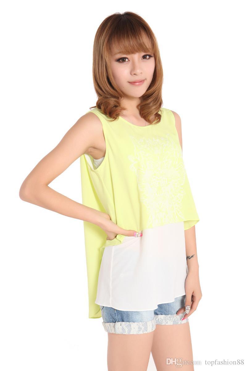 Top Selling Mode Mouwloze Nep Tweedelige Chiffon Blouses voor Dames Casual Onregelmatige Zomer Patchwork Shirts Tops Vesten Tanks