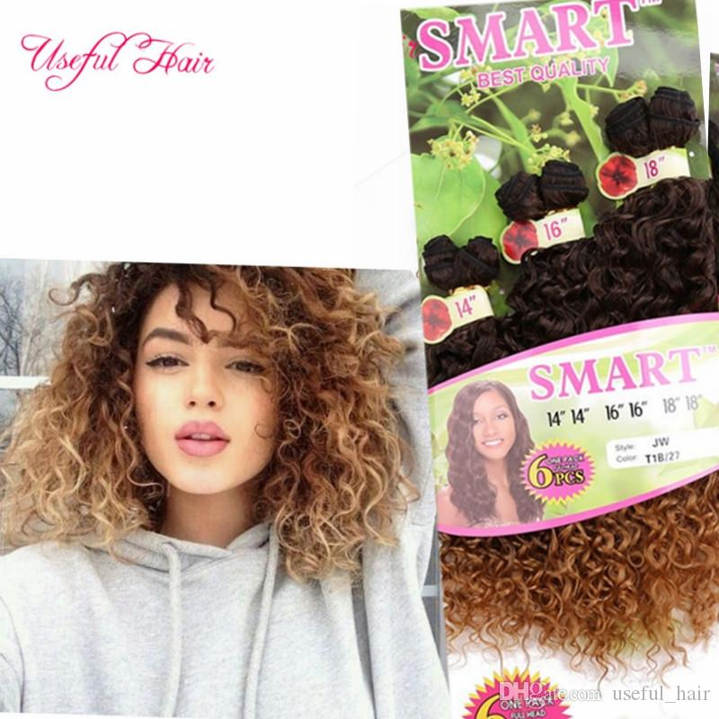 Synthetic Hair Wefts Fashions Black Ombre Bug,Blonde Jerry Curl ...
