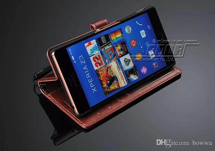20 unids cartera bolso del teléfono para Sony Xperia Z3 Vintage PU funda de cuero con soporte 3 titulares de tarjetas y marco de fotos