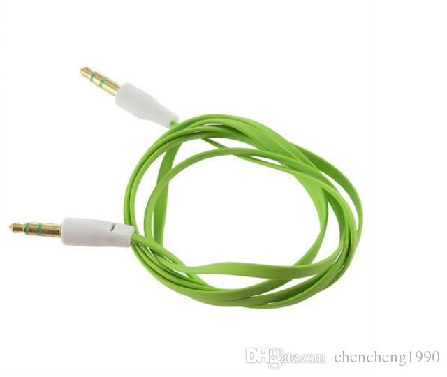 High Quality 3.5mm Colorful Noodle Audio Aux Cable Male To Male Aux pure copper Line For MP3 MP4 Computer Phone Universal Plug Cable