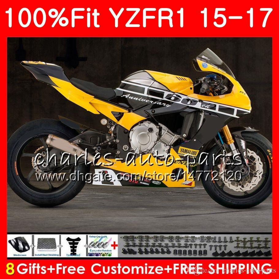 Injection Body For Yamaha Yzf 1000 Yzf R1 Yellow Blk 15 17 Yzf R1 2015 2016 2017 87no40 Yzf1000 Yzf R 1 Yzf 1000 Yzfr1 15 16 17 Fairing Kit