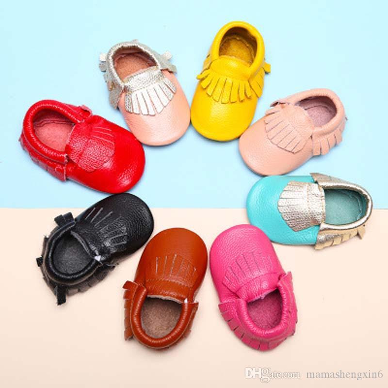 Bebek Ilk Yürüyüşe Ayakkabı Hakiki Deri Bebek Moccasins Yumuşak Sole İlkbahar Sonbahar Toddler Çocuk Lovey ayakkabı
