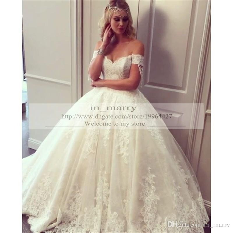 Discount 2016 New Arrival Full Lace Wedding Dresses A Line Off Shoulder Plus Size Elegant Arabic Nigeria African Bridal Gown Vestido De Novia