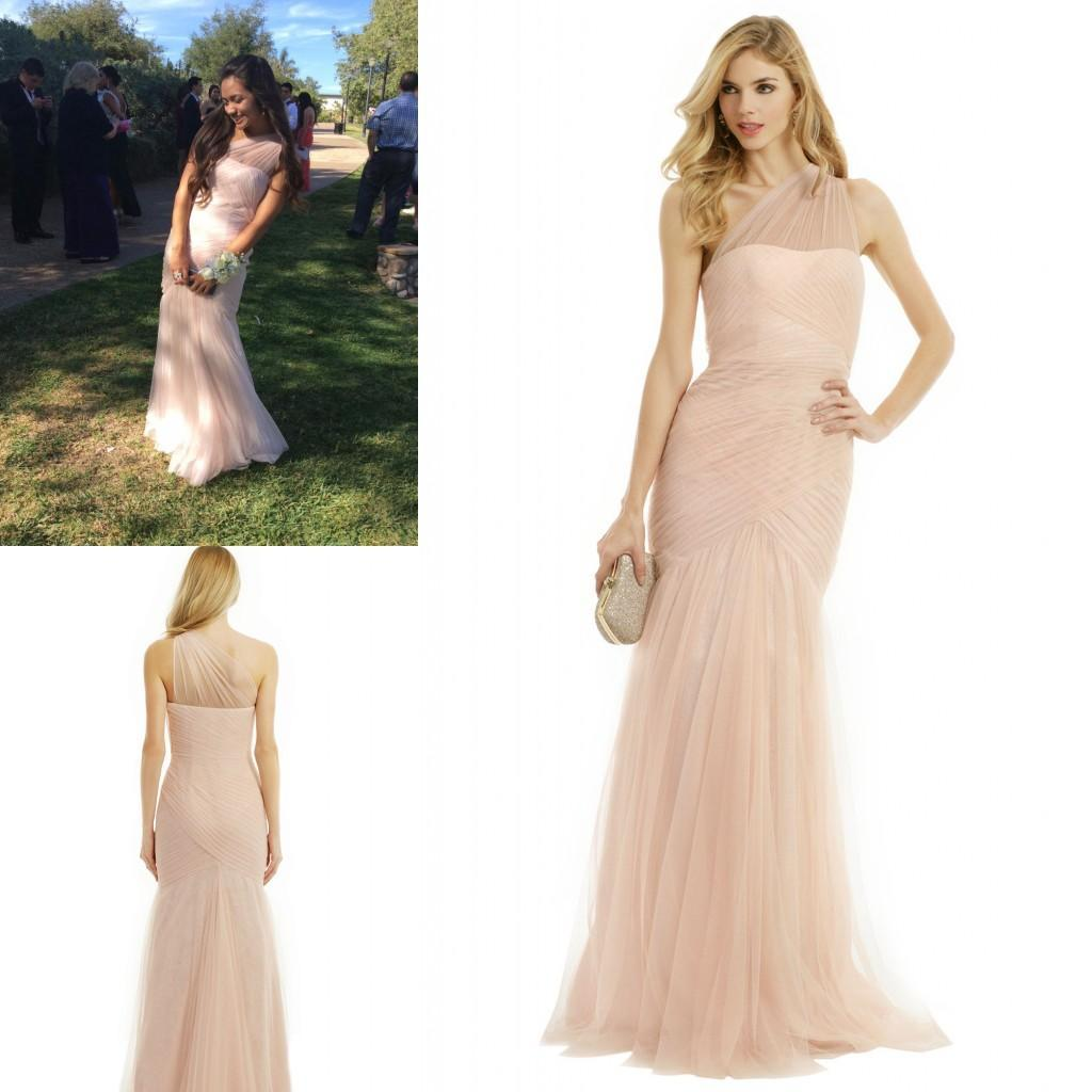 Discount 2015 blush tulle bridesmaid dresses sheer one shoulder discount 2015 blush tulle bridesmaid dresses sheer one shoulder strap ruched long mermaid stylish maid of honor beach garden wedding party gowns k19 white ombrellifo Gallery