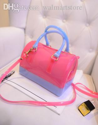Al por mayor-2015 nuevo bolso Macaron color beach bags jalea bolso bolso candy color transparente bolsos de moda
