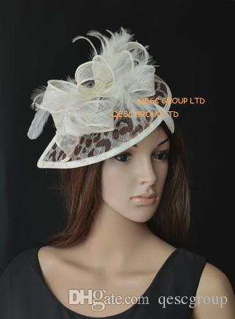 a437c48114c81 Leopard Print Sinamay Fascinator Teardrop Fascinator With Feathers For  Church Kentucky Derby Wedding Party Bridesmaid Jewellery Butterfly Hair  Clips From ...