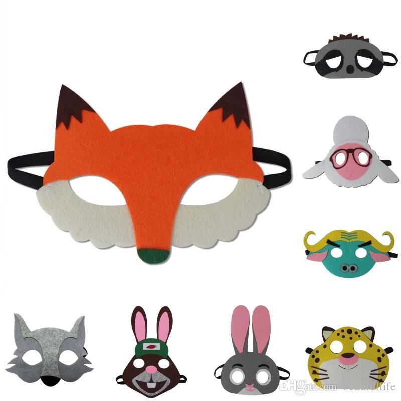 4abc18576cc52 kids animal mask Halloween cartoon fox rabbit tiger cosplay eye masks for  children party Masquerade mask HG008
