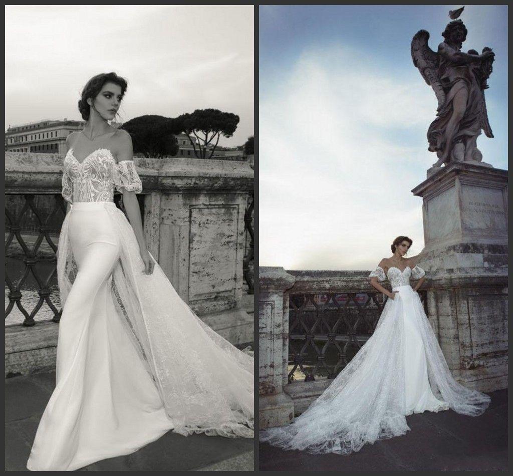 Новая Julie Vino Overskirt Свадебные платья Русалка Sheer Jewel Шея кружева аппликация Sweep Поезд Труба Свадебные платья со съемными поезд