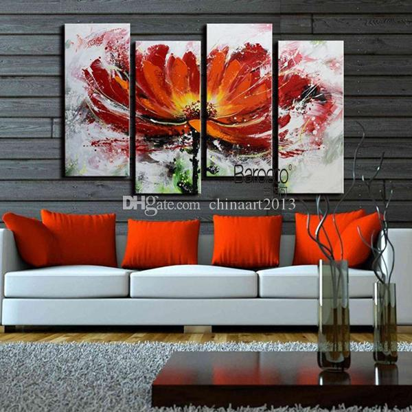 Red Flowers Pure Hand Painted Abstract Oil Painting Modern Home Wall Art Decoration Gift