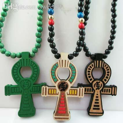 Venta al por mayor-ANKH poder egipcio de la vida buena madera Hip Hop Goodwood Fashion Necklace