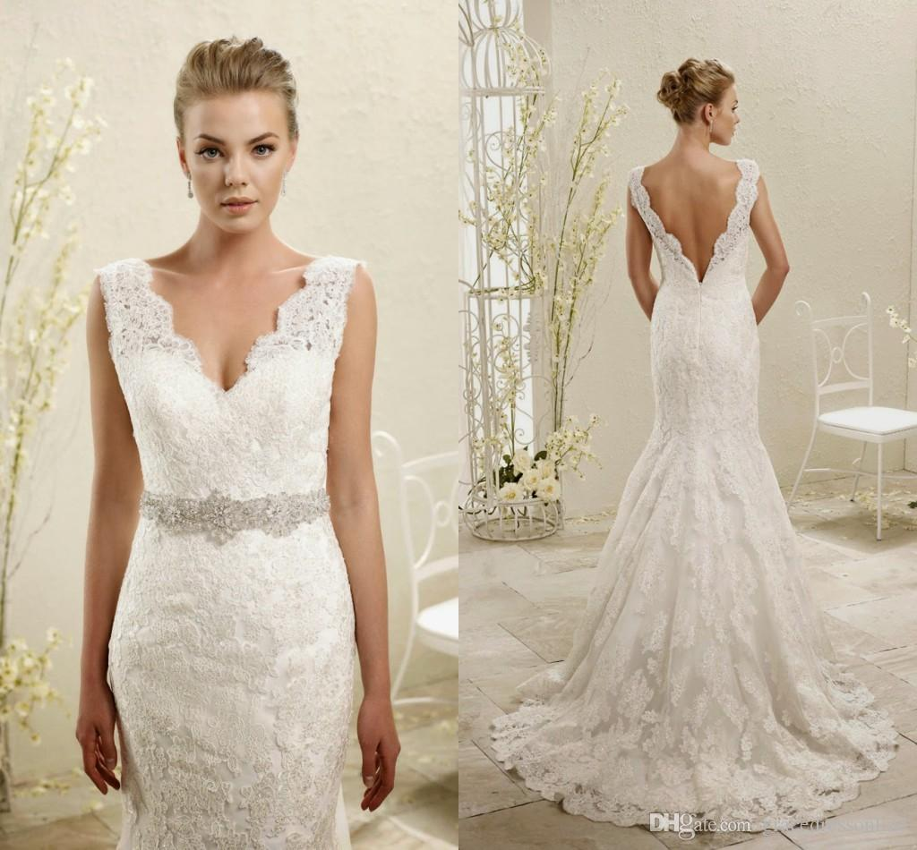 Eddy K ADK 2015 Exquisite Wedding Dresses Mermaid Appliqued Lace Scalloped V Neck Bridal Gown With Open Back And Beaded Sash Court Train Sheer