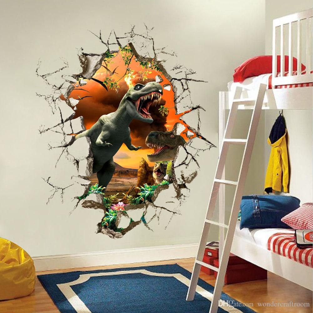 Jurassic Park Dinosaur Dino Breaking Wall Creative 3D Effect Wall ...