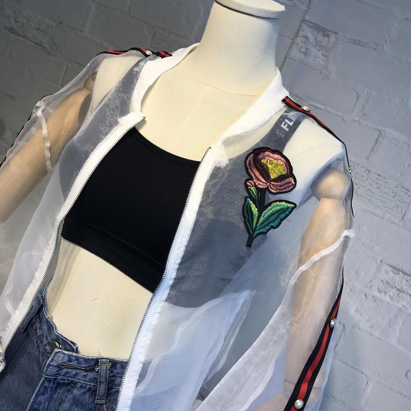 Işlemeli güller Fermuar güneş koruma giyim Yaz Kadın Ceket Kadınlar Temel Şeffaf Bombacı Ceket Sunproof B5419