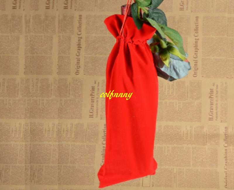 Fast shipping Flannelette Red Wine Bags Drawstring Wine Bottle Pouch Gift Covers package bag
