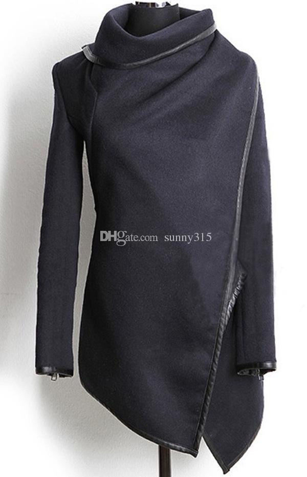 Europejskie Eleganckie Kobiety Zippered Z Długim Rękawem Boaned Leather Poncho Cape Wool Płaszcz Plus Size Wojskowy płaszcz