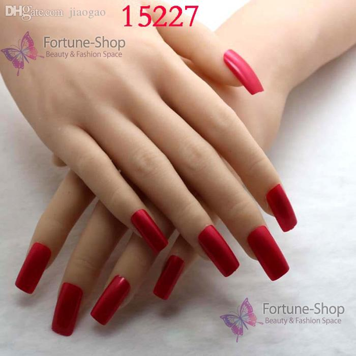 Wholesale Beauty Fake Nails Color Pearlite Red Acrylic Nail Tips ...