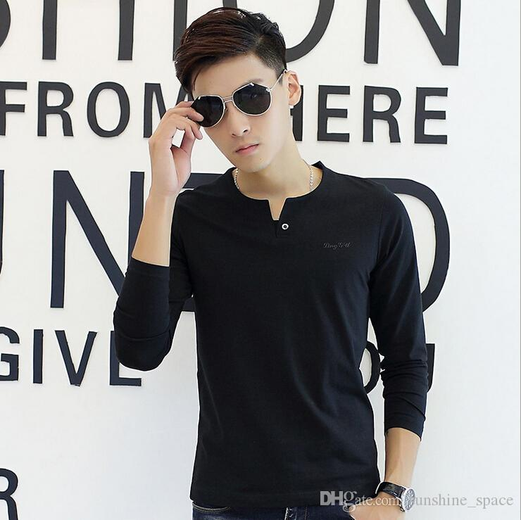 elegant men cotton t shirts sexy v neck button long sleeve slim