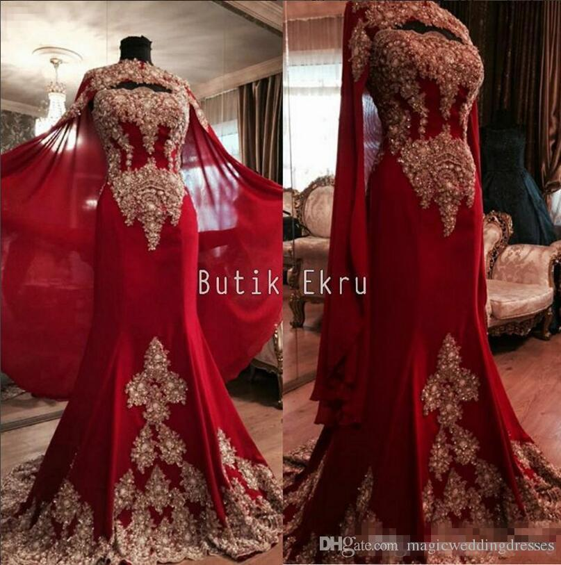 Red Luxurious Lace 2017 Arabic Dubai India Evening Dresses Sweetheart Mermaid Tulle Prom Dresses With A Cloak Formal Party Gowns