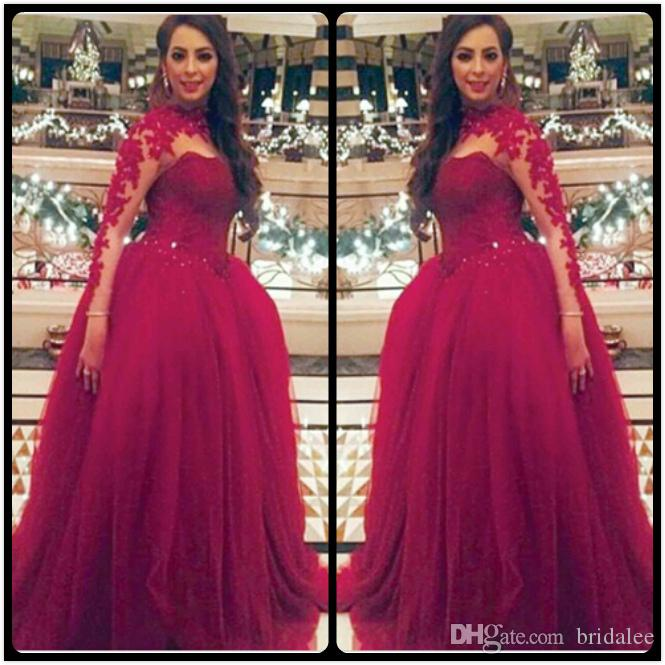 2018 Fashion Burgandy High Collar Appliqued Beaded Long Sleeve Prom Dresses Ball Gown Arabic Evening Party Dresses With Lace Appliques