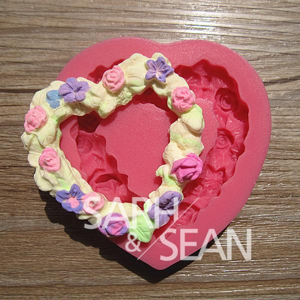 Cake Design Rose Flower Heart Shape Garland Fondant Cake Molds