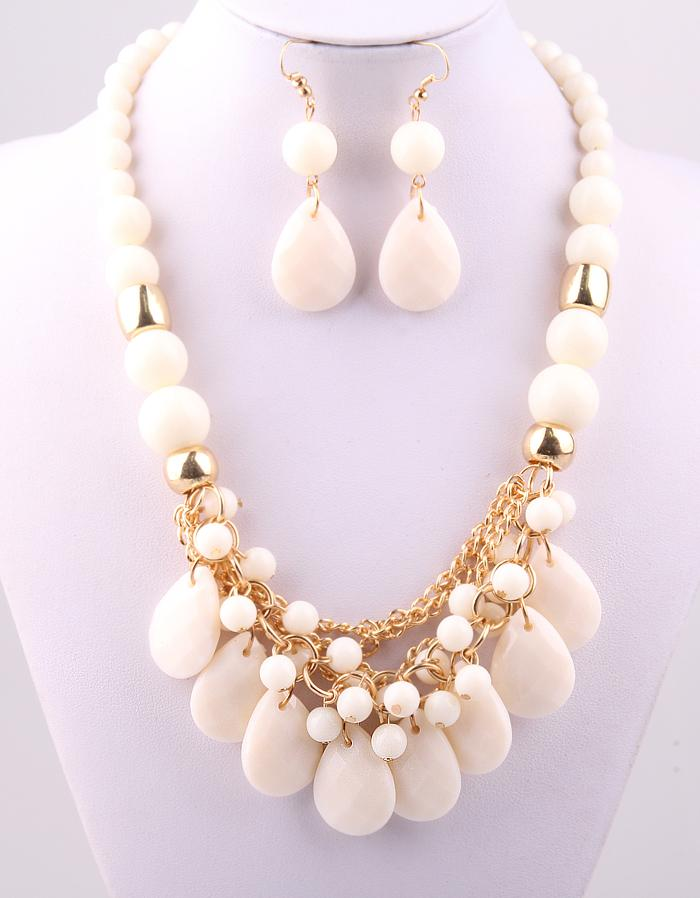 New Resin fashion Candy Color acrylic beads Party gold chain lady Dress Necklace earring jewerly set for Women