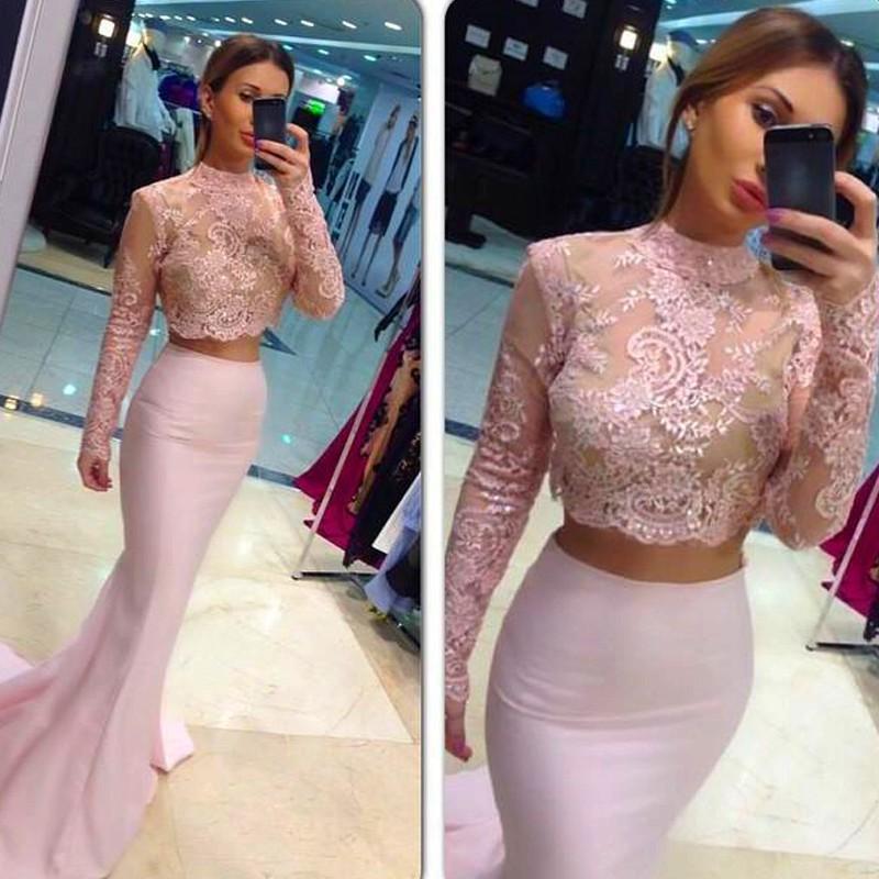 2016 도매 두 조각 웨딩 드레스 우아한 이브닝 가운 섹시한 환상 스팽글 레이스 Applique 긴 소매 핑크 인어 연예인 가운