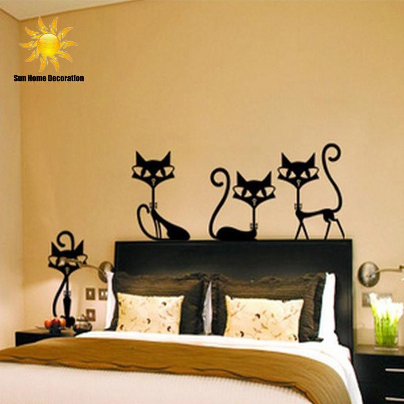 4 black fashion wall stickers cat stickers living room decor tv wall
