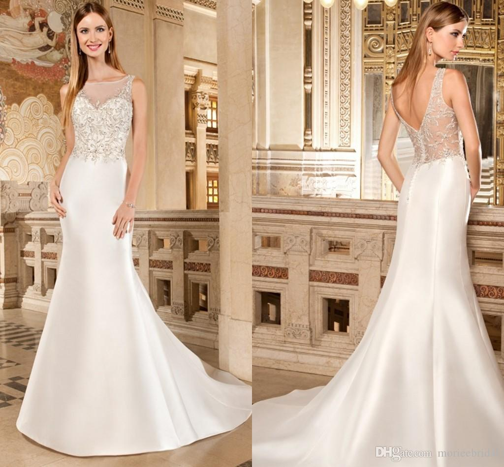Demetrios Classic Satin Mermaid Wedding Dresses Strapless Form Fitting Bridal Gowns Sheer Beaded Bodice And V Back 2015