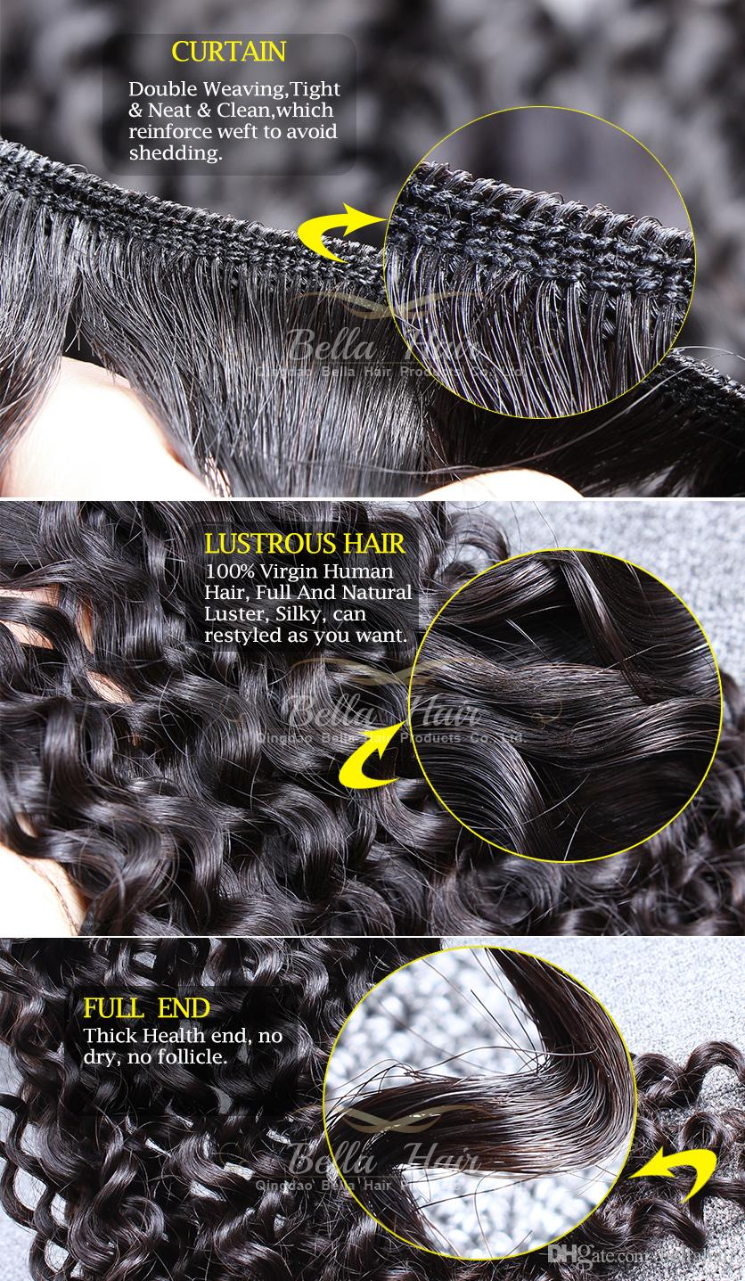 Bellahair Peruvianの人間のバージンの髪の束の拡張巻き毛の髪の髪織りダブルサイドの安いナチュラルカラー