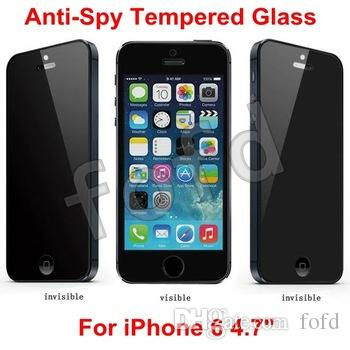 0.26mm Anti-Spy Privacy Protector Real Tempered Glass Screen Protector Shield For iphone 4s 5 6 6 plus Samsung S6 S4 S5 Note 3