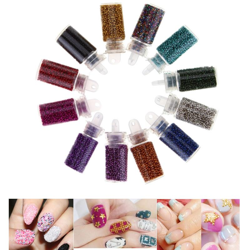 Tiny Bottle Caviar Bead Nail Art Set Mini Round Pearls for French ...
