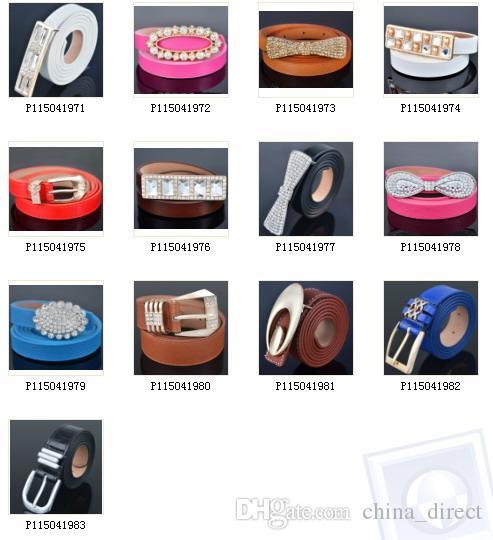 2015 şeker renk katı Bayanlar PU LeatherThin Sıska kemerler Kemer Kemer Moda Kemerler karışık tasarım renk 28 stilleri 12 adet / grup # 3844