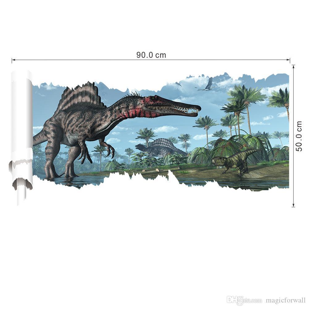 Jurassic Time 3D View Dinosaur Scroll Wall Decal Sticker Boys Kids Room Nursery Wall Decor Dinosaurs Wallpaper Sticker Posters