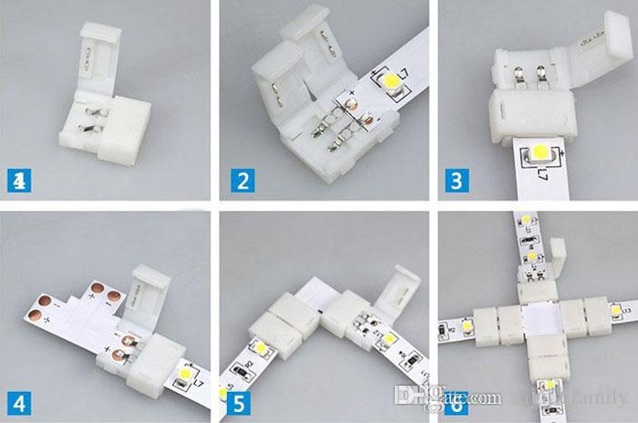 Los más nuevos conectores de tira led para 8mm 3528 y 10mm 5050 5630 smd de un solo color y tiras de LED RGB 5050 DC de 4 pines sin luz de soldadura rápida