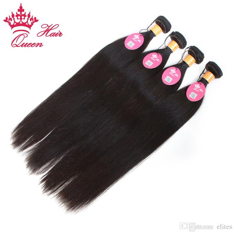Queen Hair Products Indian Virgin Human Hair Extensions Straight 2 sztuk / partia Gorąca Sprzedaż z wysyłką za darmo