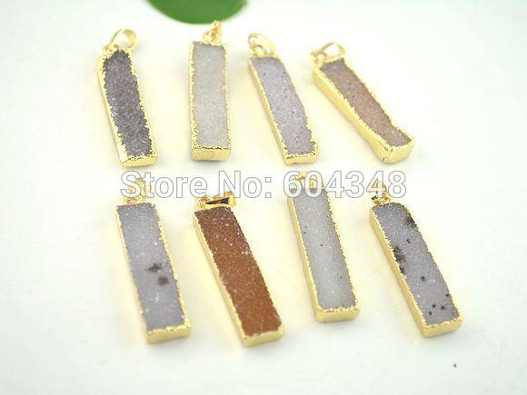 crystal luxury Crystal Shiny 5pcs Nature Agate Stone Pendant, Rectangle shape Gold plated Edged Druzy Drusy Fine Gem Stone Pendant For Jewel