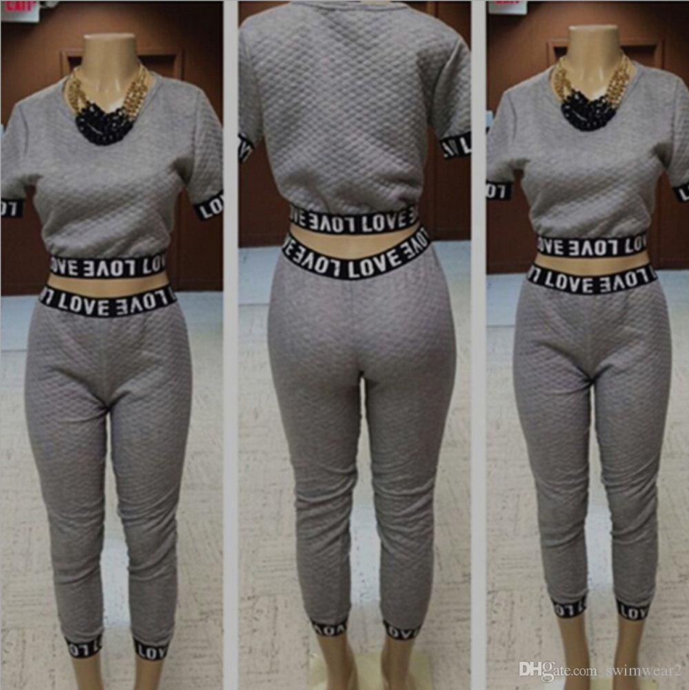 New 2016 Fashion Two Pieces Set Grey Capris Jumpsuit Sport Wear ...