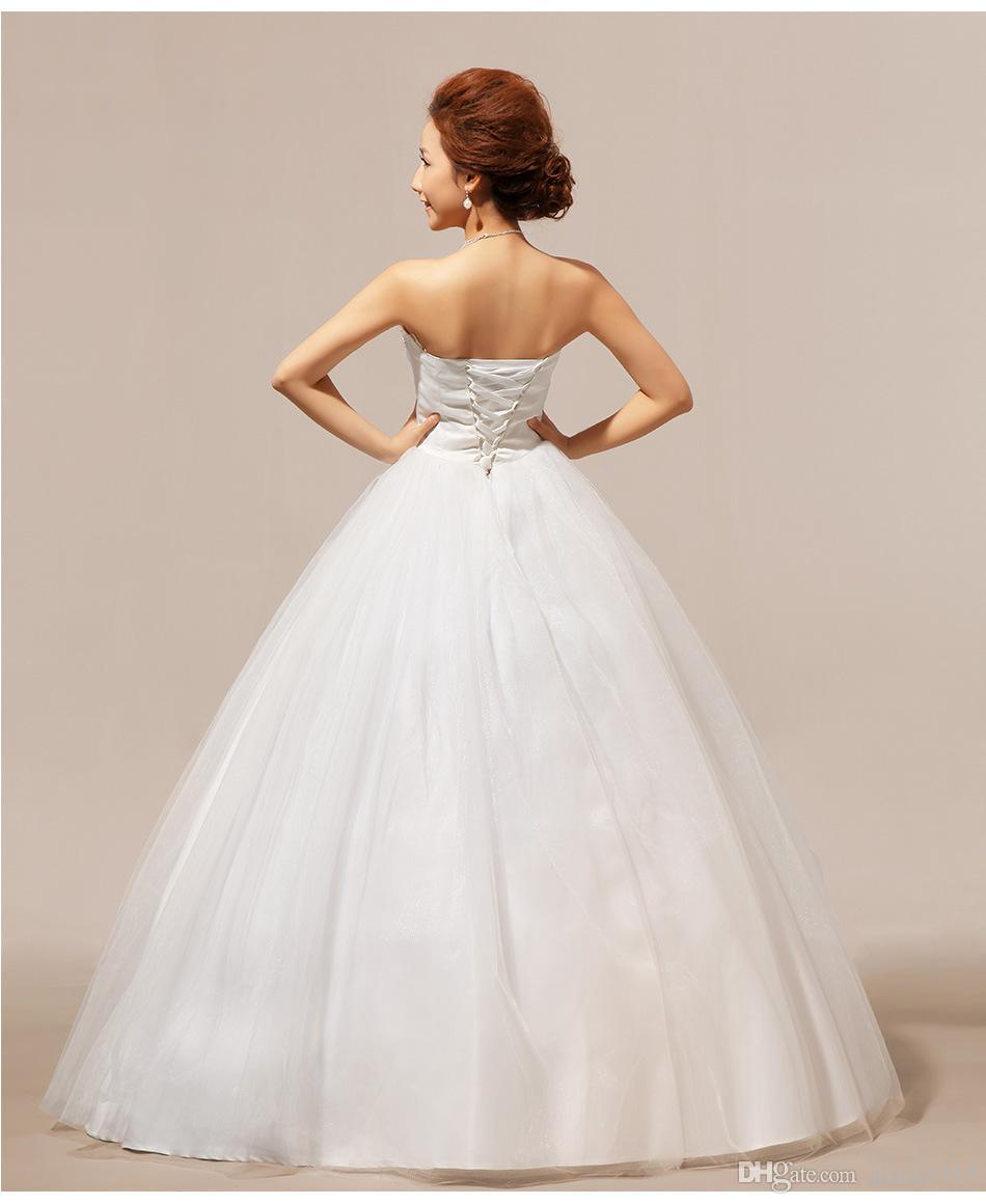 Shanghai historia real de fotos de cristal sin tirantes de los vestidos de boda barato blanco Príncipe novia Vestidos Frock