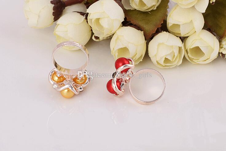 2015 Hot sales fashion woman/girl jewelry Mosaic pearl Seven color crystal modelling Rose gold ring Mixed style Open ring