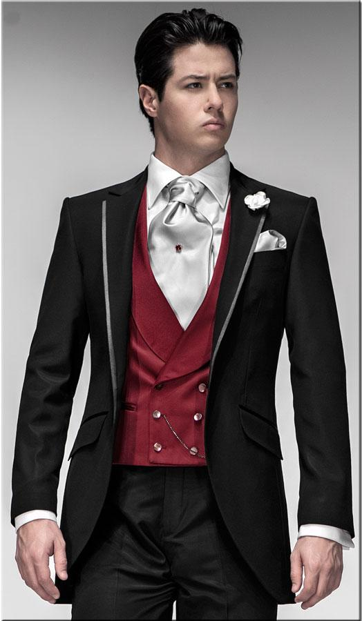 Black Slim Fit Tuxedos Groomsmen Suits Wedding Suits For Men ...