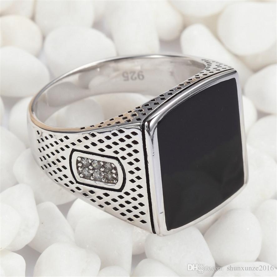 925 Sterling Silber Ringe Black Emaille und Weiß Cubic Zirkonia Rave Bewertungen Noble großzügig S - 3783 Sz # 7 8 9 10 11 Exquisite Geschenk