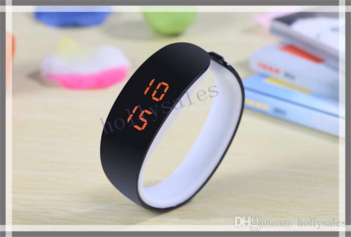 Bracciale in plastica a LED con cinturino in silicone, orologio da polso con cinturino in pelle, orologio da polso da uomo digitale