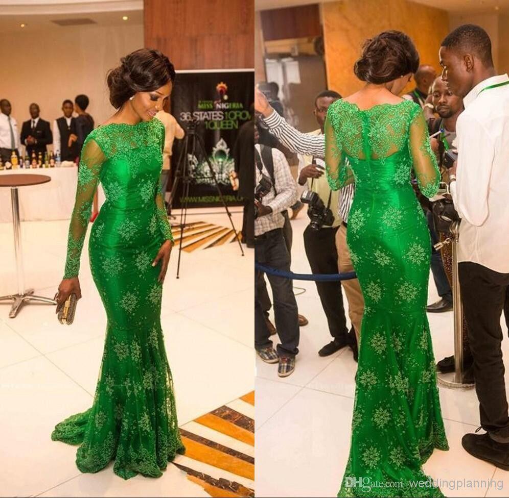 Nowy Elegancki Czerwony Dywan Miss Nigeria Prawdziwe Obraz Green Lace Celebrity Sukienki Sheer Scoop Długie Rękawy Syrenka Wieczór Formalne Suknie
