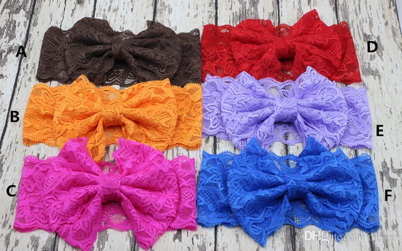 Accesorios para el cabello para niños Mezcla multicolor Color sólido Diadema de bebé, estiramiento de nylon encaje bowknot diadema