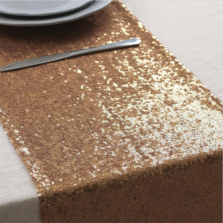 Bon New Arrival Rose Gold Sequin Table Runners