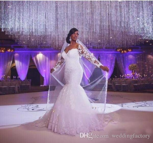 Plus Size Fit and Flare Wedding Dresses Mermaid Bridal Gowns with Illusion Long Sleeves Lace Appliques Off the Shoulder Court Train