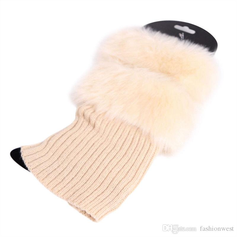 Womens Stulpen Frauen Winter Warm Strickstiefel Manschette Pelzbesatz Knit Toppers Boot Socken Stulpen